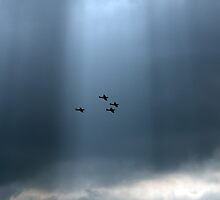 Sunlit Supermarine Spitfires silhouetted by Gary Eason + Flight Artworks