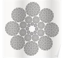 Black lace flower pattern on white background Poster
