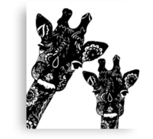 Zentangle Giraffes Canvas Print