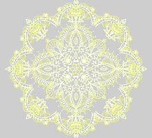 Pale Lemon Yellow Lace Mandala on Grey by micklyn