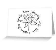 Serenity Tranquility Lotus (Black) Greeting Card