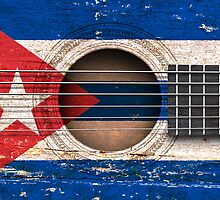 Old Acoustic Guitar with Cuban Flag by Jeff Bartels