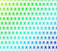 Multi spiders blue green rainbow geometric by julesdesigns