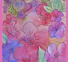 Floral Watercolour Collage 3 by Heather Holland by Heatherian