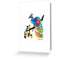 Peacock in a Peach Tree  Greeting Card