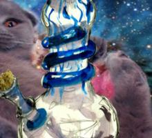 space cat bong art Sticker