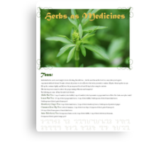 Herbal Calendar Teas- Cover Canvas Print