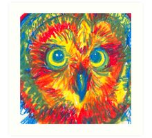 primary color owl Art Print