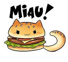 Cats Food - cheeseburger cat by MariaDaregin