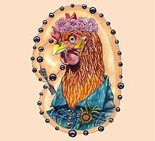 red fowl with flower crown and black fork rosary by Ashley Peppenger