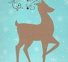 Christmas reindeer with baubles by lizblackdowding