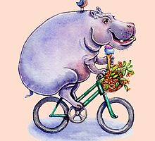 hippo on bicycle with icecream by vian