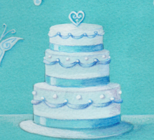 Blue and white wedding cake Sticker