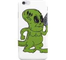 Alien Dinosaur Holding Ray Gun Cartoon iPhone Case/Skin