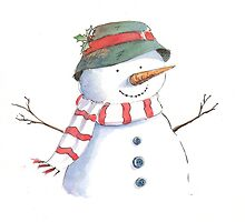 Cute Christmas Snowman by lizblackdowding