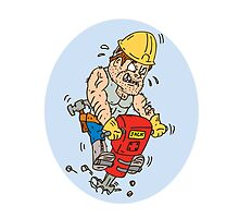 Construction Worker Jackhammer Drilling Cartoon by patrimonio