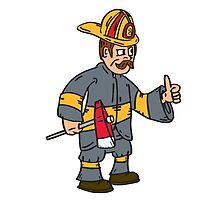 Fireman Firefighter Axe Thumbs Up Cartoon by patrimonio
