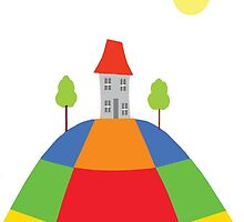 House on the hill  sunny day by Rivkahlaydesign