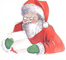 Santa reading his list by lizblackdowding