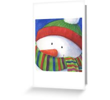 Cute Christmas Snowman with scarf Greeting Card