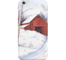 Red barn in the snow iPhone Case/Skin