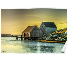 Fishing Shacks at Sunset Poster