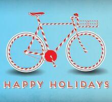 Candy Cane Bicycle - Happy Holidays by jenyamasaki