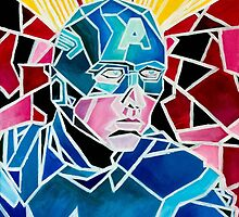 Geometric Vintage Fusion Captain America | Marvel Painting by fromfarahway