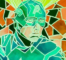 Green Geometric Marvel's Captain America Art by fromfarahway