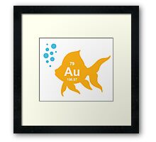 Periodic Table Elemental Gold Fish Framed Print