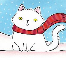 White Cat in the Snow by zoel
