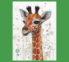 Baby Giraffe Watercolor Painting Kids Clothes