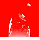 Red Neon Flower with Butterfly by Catherine Hamilton-Veal  ©