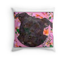 Staffy Dog Goes Floral! Throw Pillow