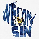 Wisconsin Typographic Map Flag by A. TW