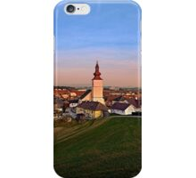 Village and church in warm sundown light II | landscape photography iPhone Case/Skin