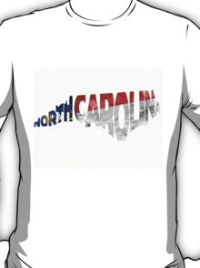 North Carolina Typographic Map Flag T-Shirt
