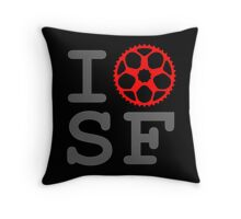 I Bike SF - San Francisco Bicyclist Throw Pillow
