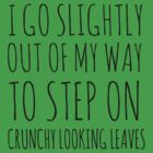 I go slightly out of my way to step on crunchy looking leaves. by Rob Price