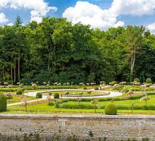Garden of Diane de Poitiers, Chateau de Chenonceaux, Loire Valley, France by Elaine Teague