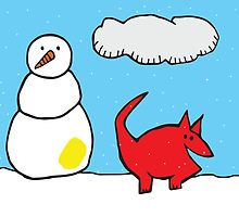 Snowman and Dog by retrogasm