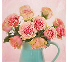 A bouquet of Salmon Roses in a Teal Vase Photographic Print
