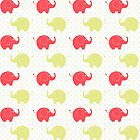 Cute Blue and Gold Elephants by purplesensation