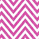 MODERN CHEVRON PATTERN bold bright pink glitter white by Kat Massard
