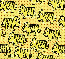 Nits for Kids - Lots of Tigers on a Cushion by nits-for-kids