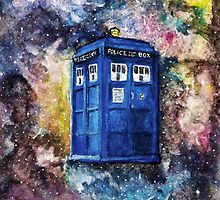TARDIS in space watercolour art  by vincentnoir