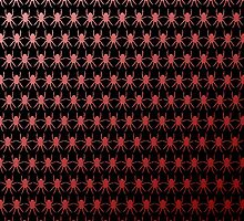 Multi spiders blood red on black by julesdesigns