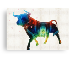 Bull Art Print - Love A Bull 2 - By Sharon Cummings Canvas Print