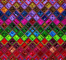 Stained Glass Mosaic Pattern Abstract Art by Nhan Ngo