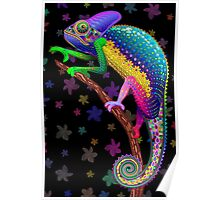 Chameleon Fantasy Rainbow Colors Poster